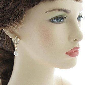 Gold Drop Earrings for Weddings with Teardrop Pearls-Rosa
