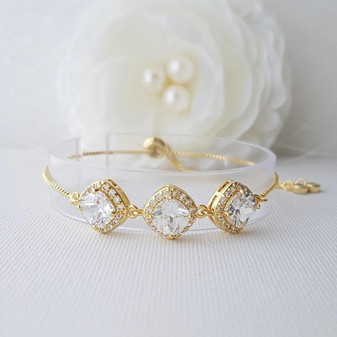 Gold Bracelet for Brides in Rhombus Cubic Zirconia- Celia