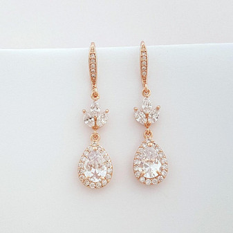 Bridal Rose Gold Teardrop Earrings Wedding Jewelry Rose Gold Crystal Drop Earrings, Lotus Earrings