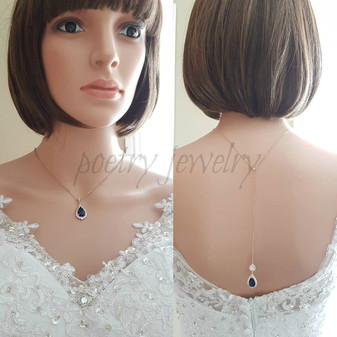 Blue Bridal Necklace in Rose Gold with Backdrop-Aoi