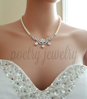 Wedding Necklace Pearl Crystal, Crystal Bridal Necklace, Swarovski Pearl Necklace, CZ Pendant, Necklace for Wedding, Bridal Jewelry, Astra
