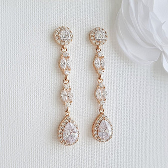 Rose Gold Long Earrings- Hayley