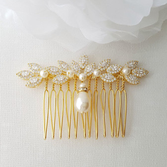 Gold Hair Comb for Weddings with Pearl & Crystals-Abby