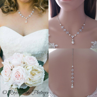 Pearl and Crystal Wedding Necklace with Backdrop for Bride-Rosa