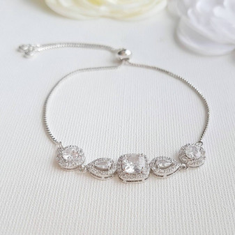 Cubic Zirconia Crystal Wedding Bracelet- Gianna