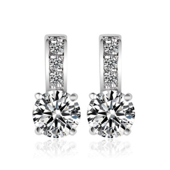 Small Stud Drop Earring In Cubic Zirconia