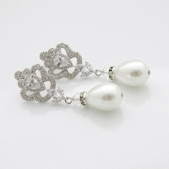 Victorian Style Pearl Drop Earrings-Mabel