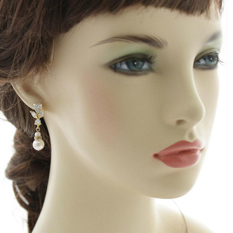Gold Earrings for Weddings with Pearl Drops-Nicole