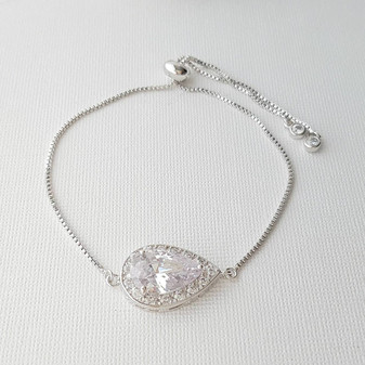 Simple Bridesmaid Bracelet, Crystal Bridal Bracelet, Teardrop Bracelet, Wedding Bracelet, Flower Girl Bracelet, Wedding Jewelry, Evelyn
