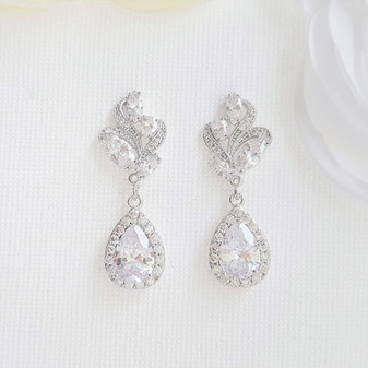 Clear Crystal Drop Earrings for Wedding Silver-Wavy