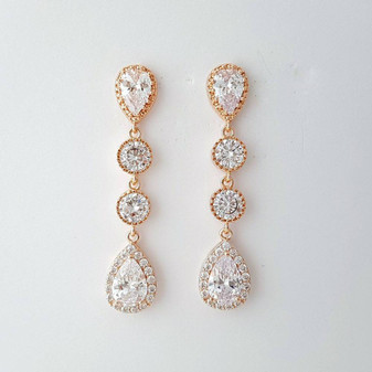 Rose Gold Wedding Earrings-Emma