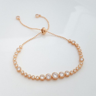 Rose Gold Bridal Bracelet, Bridesmaid Bracelet,Wedding Tennis Bracelet, Bangle Bracelet, Rose Gold Wedding Bracelet, Zara Bracelet