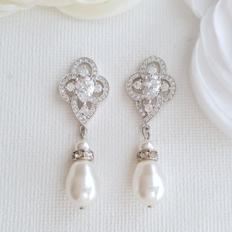 Pearl Drop Earrings, Bridal Earrings, Crystal Wedding Earrings, Bridesmaids Earrings, CZ Pearl Earrings, Pearl Wedding Jewelry, Mabel