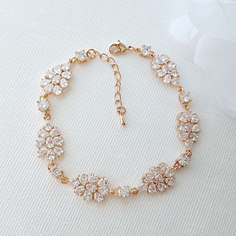 Crystal Cluster Bracelet for Brides-Julia