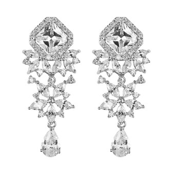 Wedding Drip Earrings in Cubic Zirconia