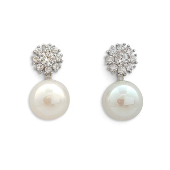 Pearl and Cubic Zirconia Stud Earrings