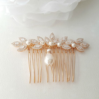 Rose Gold Hair Comb, Crystal Leaf Hair Comb, Wedding Hair Comb, Rose Gold Headpiece, Pearl Drop, Crystal Hair Comb, Gold Hair Comb, Abby