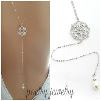 Long Back Necklace for Wedding, Prom, Event Backless Dresses-Sadie