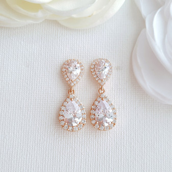 Rose Gold Teardrop Earrings-Emma