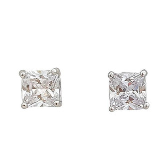 Very Small Square Stud Earrings in Cubic Zirconia