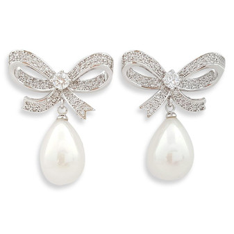 Bow Earrings with large pearl drops