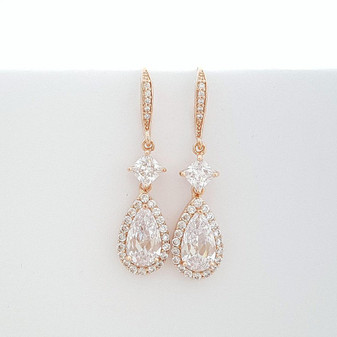 Rose Gold Earrings, Wedding Earrings, Crystal Drop Bridal Earrings, Cubic Zirconia, Gold, Dangle Earrings, Bridal Jewelry, Lena