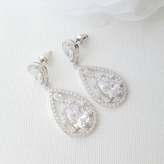 Bridal Drop Earrings-Esther