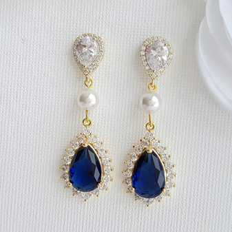 Blue Crystal Earrings Gold- Poetry Designs