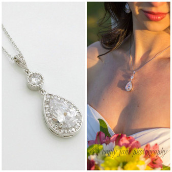 Round and Pear Shaped Drop Bridal Necklace-Evana