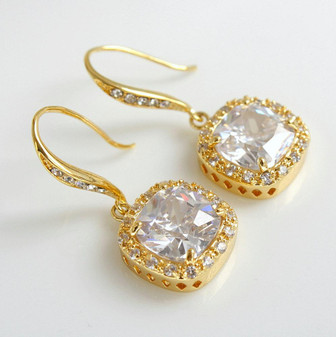 Drop Gold Wedding Earrings Bridal Jewelry Clear Cubic Zirconia Gold Wedding Jewelry Square drop Earrings, Riley
