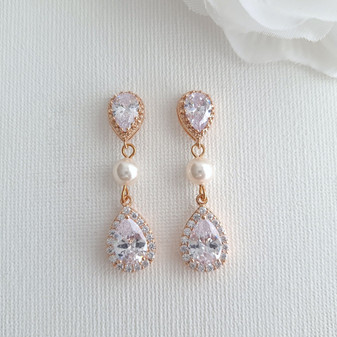 Rose gold and Pearl Earrings-Emma