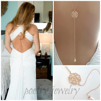 Wedding Back Necklace in Rose Gold-Sadie