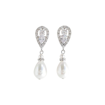 Silver Pearl Drop Earrings-Cera