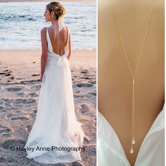 Gold Back Necklace With Pearl Drops-June
