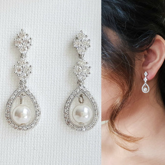 Pearl & Cubic Zirconia Drop Earrings-Lea