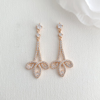 Rose Gold Cubic Zirconia Earrings-Allison
