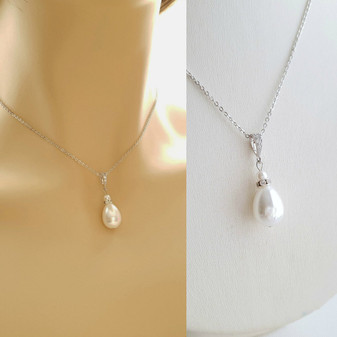 pearl wedding necklace for brides and bridesmaids- Poetry Designs