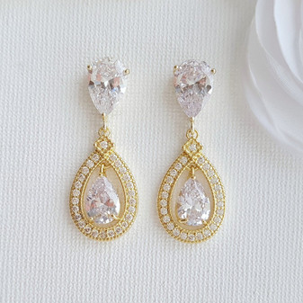 Gold Crystal Drop Earrings Weddings- Sarah