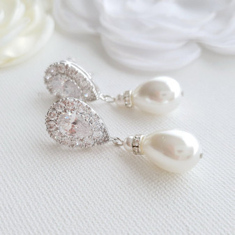 Pearl Drop Earrings Wedding- Penelope
