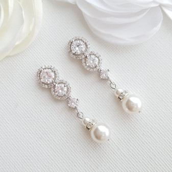 Swarovski Pearl Drop Bridal Earrings- Sarah