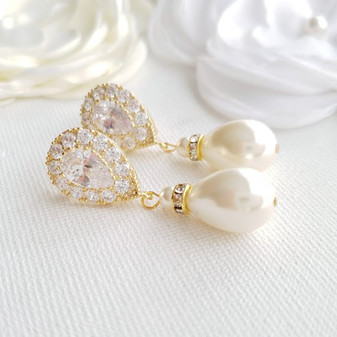 Gold Pearl Drop Earrings for Weddings- Poetry Designs