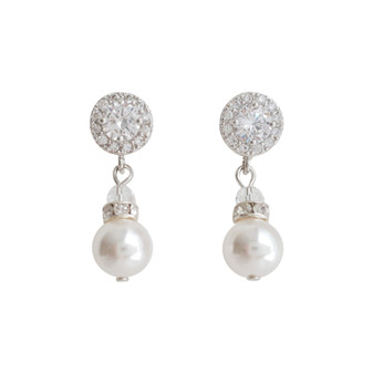 Silver Pearl Drop Earrings- Bronte