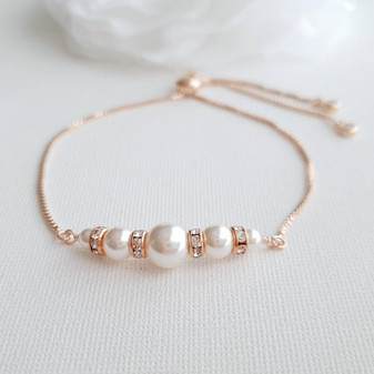 Rose Gold Pearl Bridal Bracelet- Poetry Designs