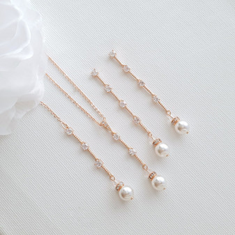 Slim Necklace Earring Bridal Jewelry Set- Ginger