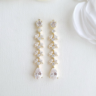 Marquise Crystal Earrings in Gold
