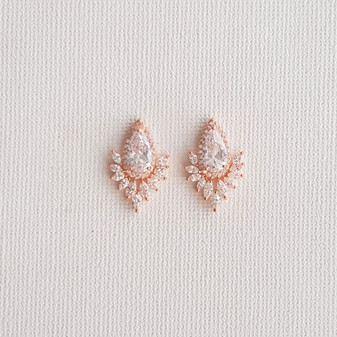 Rose Gold Studs for Brides- Starburst