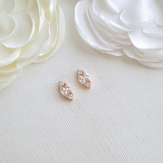 Cute Rose Gold Diamond Shaped Stud Earrings-Hayley