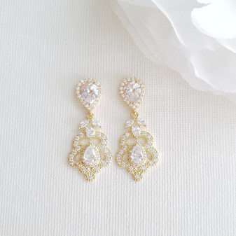 Vintage Gold Earrings for Weddings- Norma