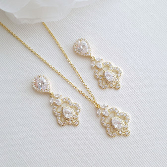 Vintage Gold Jewelry Set for Wedding- Norma