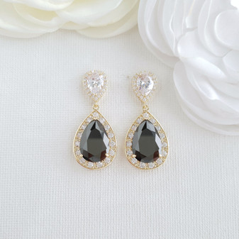 Black and Gold Earrings-Zoe